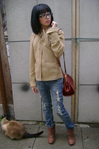 beige Forever 21 jacket - brown zizibeth boots - red thrifted purse