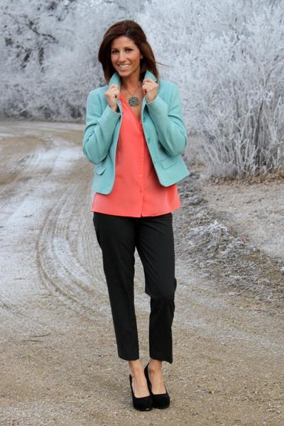 Gap pants - light teal blue Gap jacket - vintage blouse