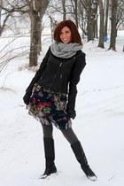 black leather Guess jacket - Go International dress - Gap scarf