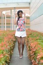 white wedge peep toe Payless shoes - white skort origami Zara shorts