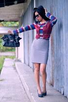 heather gray pencil skirt vintage skirt - black heelspumps S & H shoes