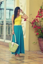 turquoise blue maxi skirt G5 skirt - chartreuse redemption Alyssa Nicole bag