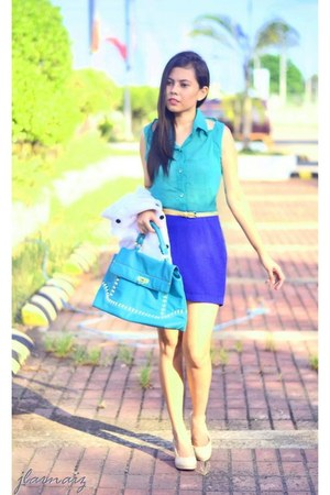 blue pencil skirt thrifted skirt - teal Nine West bag