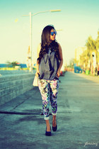 blue blue rayban sunglasses - deep purple floral GG5 pants - navy thrifted top
