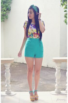 teal high waist Forever 21 shorts - mustard wedges suys shoes