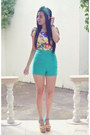 Mustard-wedges-suys-shoes-teal-high-waist-forever-21-shorts
