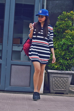 black wedge my shoes - ruby red stripes cotton vintage dress