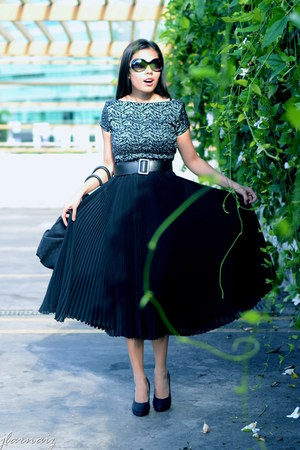 black thrifted top - black pleated thrifted skirt
