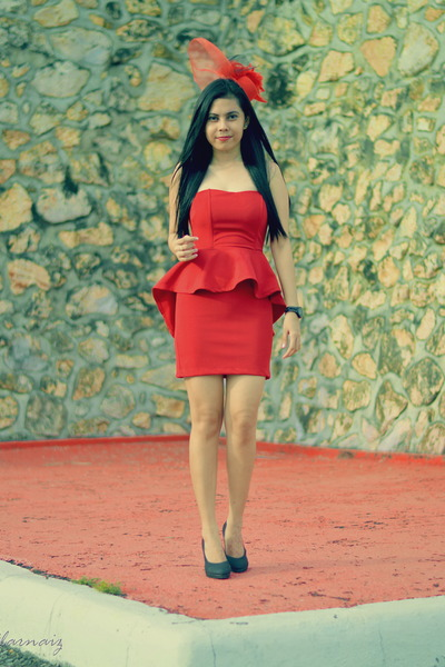 black black heels S & H shoes - red peplum cotton Oxygen dress