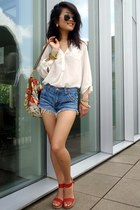 denim jacket H&M shirt - carryall floral asos bag - DIY shorts