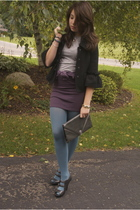 black vintage jacket - gray Bop Basics t-shirt - purple Express skirt - blue UO