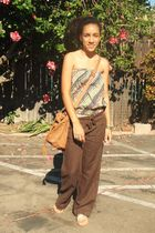 brown Old Navy pants - gold Forever 21 shoes - brown Aldo purse - yellow Forever