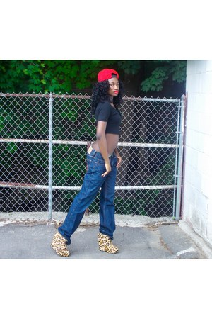 nike hat - American Apparel shirt - Levis pants - leopard print wedges