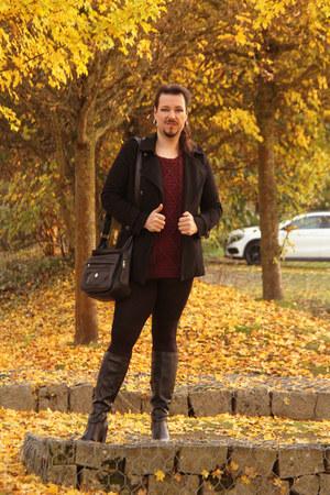black Ikebana leggings - maroon Softgrey sweater - black Softgrey blazer