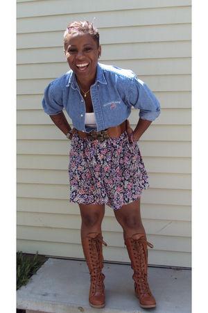 vintage skirt - vintage blouse - Forever 21 t-shirt - Ebay boots