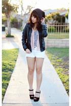 black dynamite Steve Madden heels - bubble gum striped chiffon Forever 21 blouse