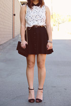 scalloped Mustard Seed blouse - buttons Forever 21 skirt - seude Zara sandals