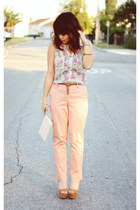 peach Forever 21 pants - ivory hearts deux lux bag