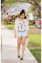 floral MYHOTSHOES wedges - drapped Painted Threads cardigan