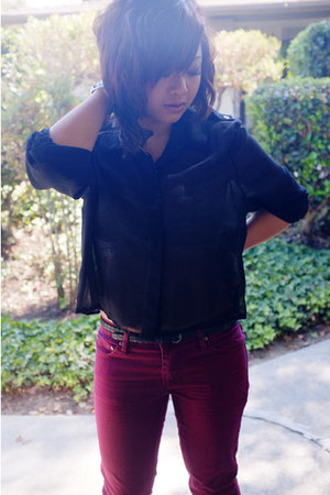 black sheer button up Lush blouse - maroon maroon pants Forever 21 pants
