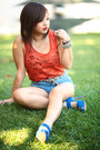 Blue-electric-blue-steve-madden-heels-diy-diy-shorts