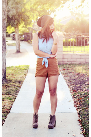 bronze corduroy American Apparel shorts - light brown suede MYHOTSHOES boots