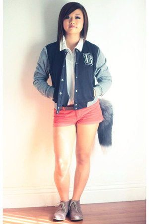 orange Forever 21 shorts - lace- up Forever 21 shoes - b Forever 21 jacket