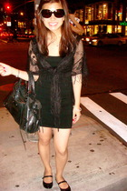 black bandage Forever 21 dress - tortoise Prada sunglasses