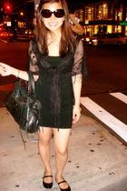 black bandage Forever 21 dress - tortoise Prada sunglasses