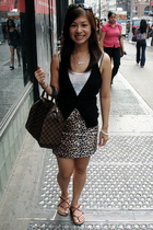 top - H&M vest - skirt - - Louis Vuitton purse