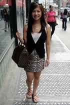 top - H&M vest - skirt - - Louis Vuitton purse