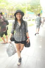 Thrifted-shoes-black-hat-greenhills-shorts-sheer-vintage-blouse