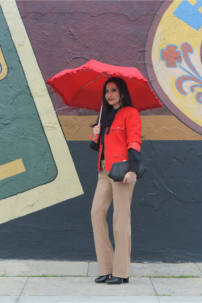 black eShakti blouse - black Zara boots - red vintage blazer