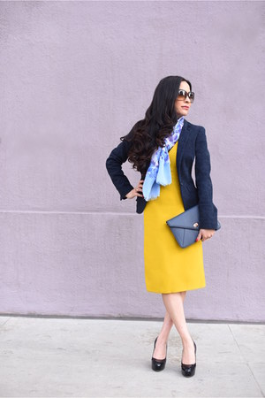 yellow shift dress Zara dress - navy wool Armani Exchange blazer