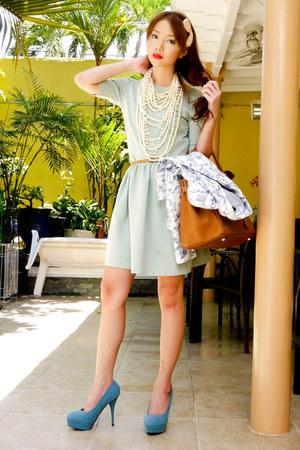 teal primaluxe manila pumps - aquamarine Zara dress - white Zara blazer