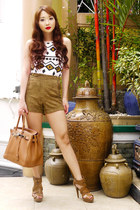 brown suede highwaist Topshop shorts - camel birkin Hermes bag