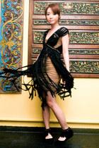 tawny Topshop dress - black Louis Vuitton bag - black Zara flats
