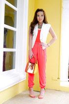 salmon suiteblanco heels - burnt orange Lancel bag - coral Zara top