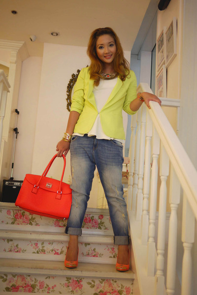 coral loewe bag - chartreuse Forever 21 blazer - coral suiteblanco pumps