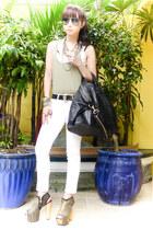 black zipper DAS boots - black nightingale Givenchy bag - white tank Topshop top