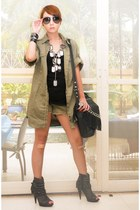 dark gray mesh with studs online boots - army green Zara coat - army green Mango