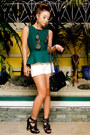 White-zara-shorts-forest-green-peplum-zara-top