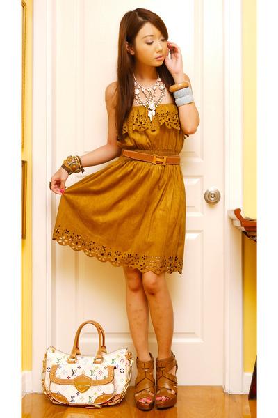 burnt orange Zara heels - tawny brought from SuperSale Bazaar dress