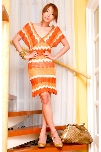 gold hobo Gucci bag - carrot orange Zara dress