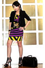 Black-zara-blazer-yellow-schizo-dress-black-glitterati-belt-black-online-s