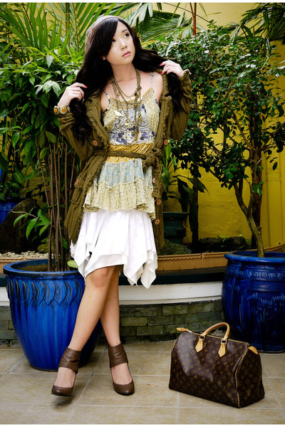 brown Mango coat - brown Zara hat - beige Mango blouse - white random skirt - br