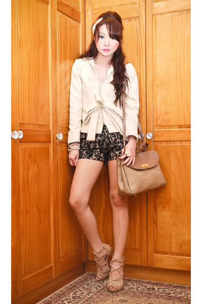 cream Glitterati blazer - beige vintage Nina Ricci bag - black ava lace Glittera