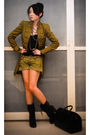 Green-mango-coat-black-zara-top-green-mango-shorts-black-louis-vuitton-bag