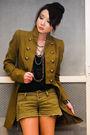 Green-mango-coat-black-zara-top-green-mango-shorts-black-louis-vuitton-bag