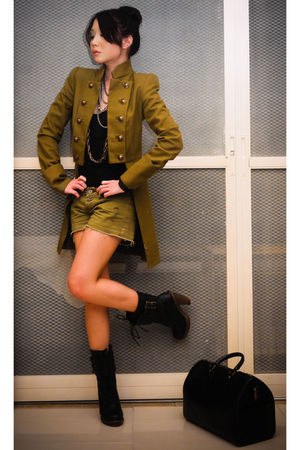green military trench Mango coat - black Rockwell Bazaar boots